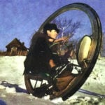 A MOTORCYCLE INSIDE THE WHEEL